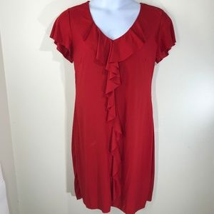 Dresses & Skirts - Red Stretch Dress w/ Ruffle Detail Size Large